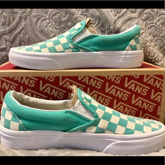 Vans Classic Mint Green Checkered Slip